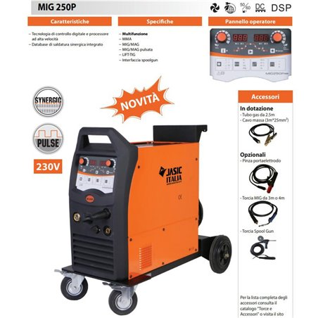 Pulsed Synergic Multiprocess Welding Machine MIG 250P - MIG / MAG / MMA / LIFT TIG