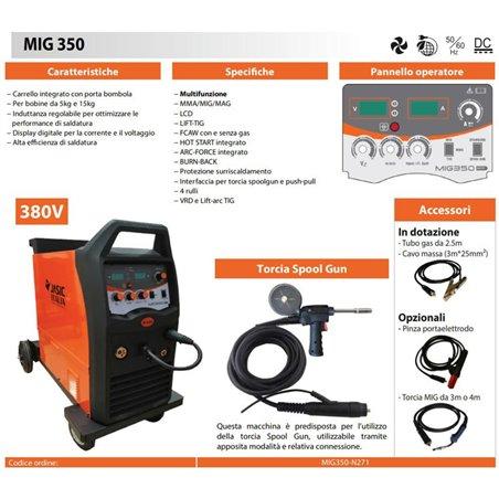 Saldatrice Filo MIG 350A Compatta con ruote - MIG/MAG/MMA/LIFT-TIG