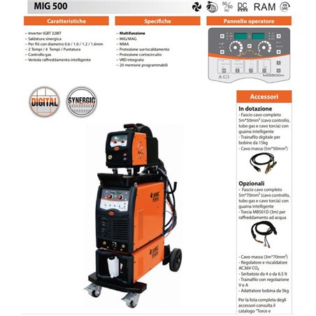 MULTIPROCESSO SINERGICA MIG 500A - MIG/MAG/MMA - MIG500-N398