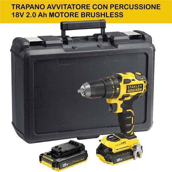 TRAPANO AVVITATORE CON PERCUSSIONE 18V 2.0 Ah MOTORE BRUSHLESS