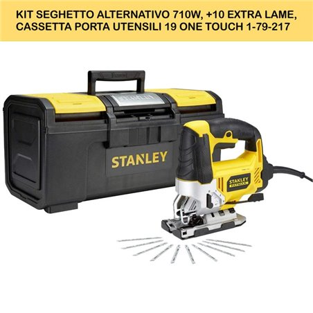 KIT SEGHETTO ALTERNATIVO 710W, +10 EXTRA LAME, CASSETTA PORTA UTENSILI 19 ONE TOUCH 1-79-217. SEGHETTO ALTERNATIVO