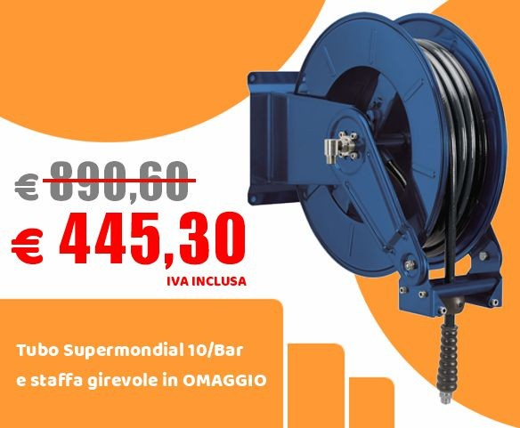 Spring hose reel in painted steel OMPI 36470